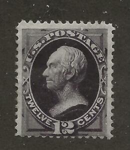 US Stamp #162 1873 Blackish Violet 12c Clay Secret Mark Banknote M OG SCV $2200