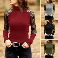 Women Long Sleeve Knit Tops Shirt Lace Crochet Casual Blouse Jumper Pullover Tee