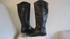 """HALOGEN """"Kate""""  Black Leather Tall Cap-Toe Ridding Boots, Zipper  Size 8 $230"""