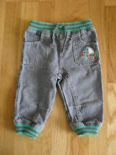 Baby boy Sainsburys TU black cotton jeans with embroidery, size 9-12 months
