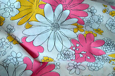 VINTAGE FULL FLAT SHEET Cannon Monticello 70'S FLORALS BOHO Pink BRADY BUNCH L1