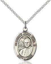Sterling Silver Saint John Paul II Medal Pendant, 3/4 Inch