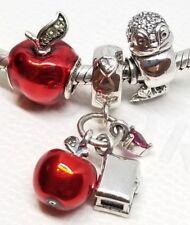 SET bracelet lot 3pcs Pandora Disney Charms Snow White Apple, heart,bird dangle