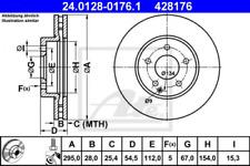 2x Bremsscheibe für Bremsanlage Vorderachse ATE 24.0128-0176.1