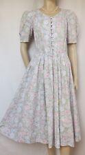 Laura Ashley Sommerkleid 38 Blumen Rosen mint grün blau rosa vintage Baumwolle