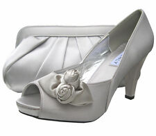 Ladies Wedding Party Heel Shoe Evening Shoes Peep Toe Silver Satin Platform NEW