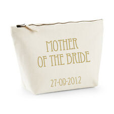 Personalised Mother of the Bride Make-up/Toiletry Bag- Gold -Wedding Gift/Favour