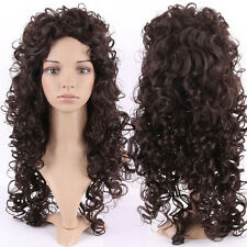 "2017 Women 26"" Curly Wave Full Wig Kanekalon Hair Wigs With Bangs Dark Brown Top"
