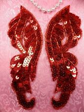 "0033 Red Appliques Mirror Pair Sequin Beaded 6.25"" Wings Set Duo Couple"