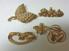 Pins, 3 with Faux Pearls 5 Vintage Gold Toned Brooches or