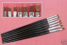 7 x Pinsel im Set, Gel und Acrylpinsel Set, Flachpinsel, Schwarz, Nr. NPS-04