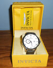 Invicta 12218 Men's Vintage Silver Patterened Dial w/ Black Leather Band Watch