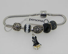"""NEW PERSONA STERLING SILVER CHARM BRACELET WITH 6 CHARMS  $275 RETAIL  7 1/2"""""""