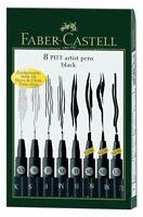Faber-Castell 8 PITT Artist Pens -BLACK  - S, F, M, B SC SB XS  1.5 made Germany