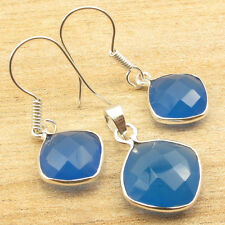 Matching Earrings & Pendant Jewelry !! 925 Silver Plated BLUE CHALCEDONY Set NEW