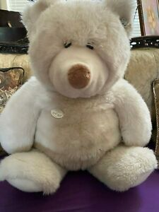 "Vintage GUND Collector's Classic 21"" White TEDDY BEAR Plush STUFFED ANIMAL Toy"