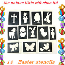 12 x Easter stencils CROSS  top up ur glitter tattoo kit face painting airbrush