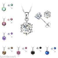 Sterling Silver Girl Lady Gift Jewelry Cubic Zircon Necklace Ear Stud Earrings