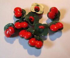10 x Plastic Red & Green Cherry shape shank back buttons 13mm wide (SB6J)
