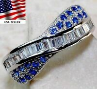 2CT Blue Sapphire & Topaz 925 Solid Sterling Silver Ring Jewelry Sz 6, Z-3