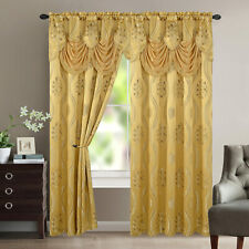 Aurora Tree Leaf Jacquard Window Panel With Attached Valance Gold 54x84 Inches