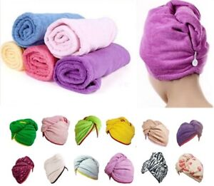 New 100% Cotton SOFT Hair Wrap Head Towel Turban Turbie Twist Buttoned Quick Dry