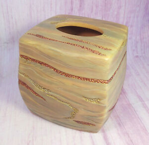 Southwestern Pottery Tissue Cover Earthtones Metallic Strips Copper Gold Ceramic