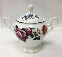 "NORITAKE DAMASK BOUQUET COVERED SUGAR BOWL 5"" FLORAL PRIMACHINA NEW IN BOX JAPAN"