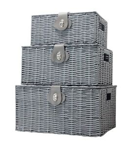 Vencier Storage Basket Hamper Resin Woven Grey Set of 3 Box With Lid & Lock