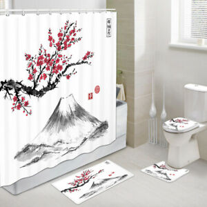 Plum Blossoms and Mount Fuji Shower Curtain Toilet Cover Rug Mat Contour Rug Set