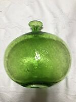 "Amici Glass Sophia Bottle GreenbControlled Bubble 7 3/4"" Vase"