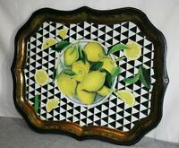 Ian Logan  Bowl Of Lemons Black Tray Platter Gold Trim By Sara Hay Made in UK