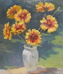 FLORAL STILL LIFE ORIGINAL SOVIET OIL PAINTING FLOWERS VINTAGE COLLECTIBLE ART