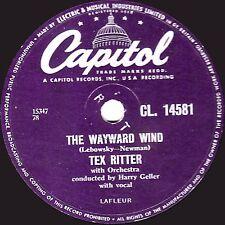 "1956 UK No. 8 TEX RITTER 78 "" THE WAYWARD WIND / GUNSMOKE "" CAPITOL CL 14581  EX"