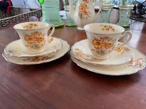Retro Vintage J&G Meakin 2x trios, cup,saucer,plate floral sunrise pattern