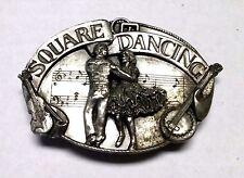 Vintage Siskiyou Square Dancing Country Western Belt Buckle Pewter USA 1985