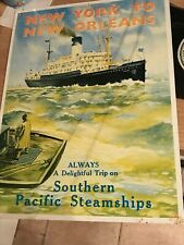 New York To New Orleans / Southern Pacific Steamships Tin Sign
