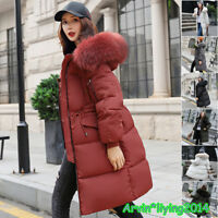 Womens Plus Size Fur hooded Quilted Padded Winter Coat Puffa Parka Jacket UK8-22