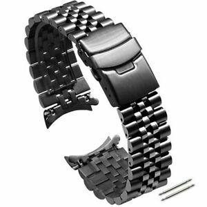 Curved Solid Stainless Steel Jubilee Watch Strap Band Bracelet 18 20 22 24 26 30