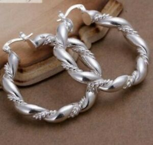 Women's 925 Sterling Silver Filled Twisted Large Chunky Hoop Earring 38mm  GIFTS