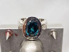 Sterling Silver Bezel Set blue zircon Ring .925 Sz: 6 3/4,new,textured body #2