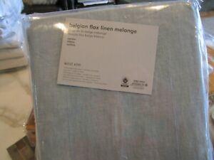 2 West Elm Belgian linen melange washed blue gemstone  48 X 96 drapes panels New