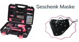 135 Teiliges Werkzeugset  Werkzeugkoffer in pink + eine Pailettenmaske