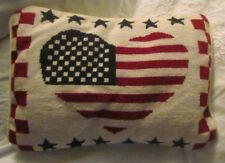 """15"""" Flag American Wool Needlepoint Velvet Pillow Throw Accent Red Navy w~Zip"""