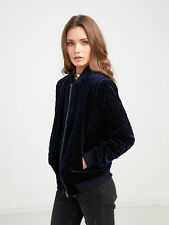 New NWT Young and Reckless Women's Quilted Bomber Jacket Navy Blue XS Coat