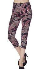 New Capri Soft Brushed Leggings ONE SIZE Not Lularoe Black Pink White PAISLEY