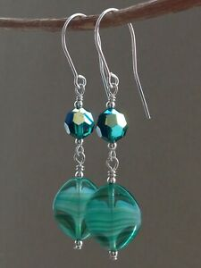 Vintage Green & White Givre Glass & Emerald AB Crystals 925 Silver Earrings