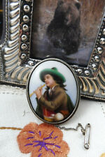 Antique Victorian St Silver Hand Painted Porcelain Cameo Brooch Boy Plays Flute