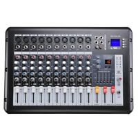 Pro Powered Audio Mixer 10 Channels Studio Power Mixing Amplifier w/ Mic Preamps