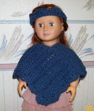 "Blue Poncho and Headband for 18"" Doll, Crochet, Handmade"